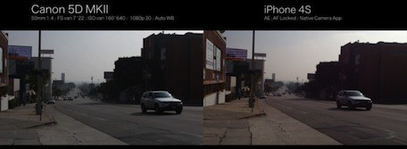 iPhone 4S video compared to Canon 5D MK II