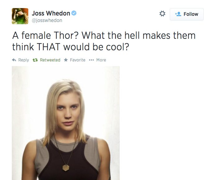 joss whedon tweet thor starbuck bsg