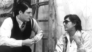 Superman (1978)   on the set Directed by Richard Donner Shown from left: Christopher Reeve (as Clark Kent/Superman), Richard Donner